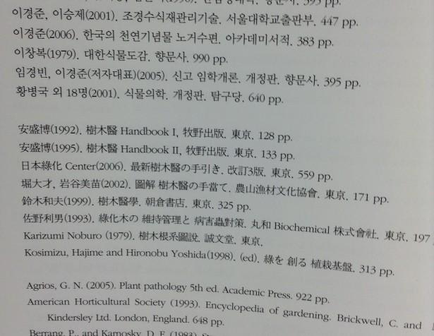 造景樹・病害虫図鑑の参考文献欄の一部